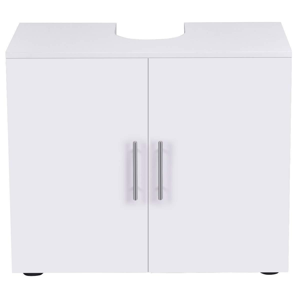 Get bathroom non pedestal under sink vanity cabinet multipurpose freestanding space saver storage organizer double doors with shelves white