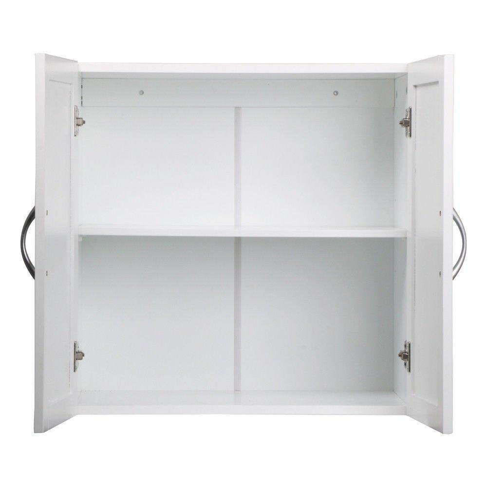 Shop here white wall mounted wooden kitchen cabinet bathroom shelf laundry mudroom garage toiletries medicines tools storage organizer cupboard unit ample storage space solid construction stylish modern design