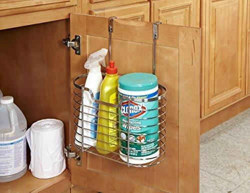 Order now kitchen details kitchen cabinet door hanging organizer basket holds bottles sponges cleaning products 1 tier large chrome