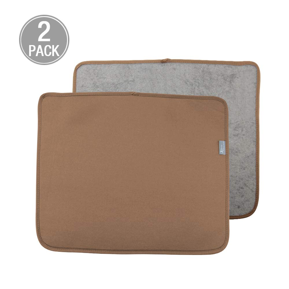 Y.VN 16 by 18-Inch Microfiber Dish Drying Mat -2 pack, Brown