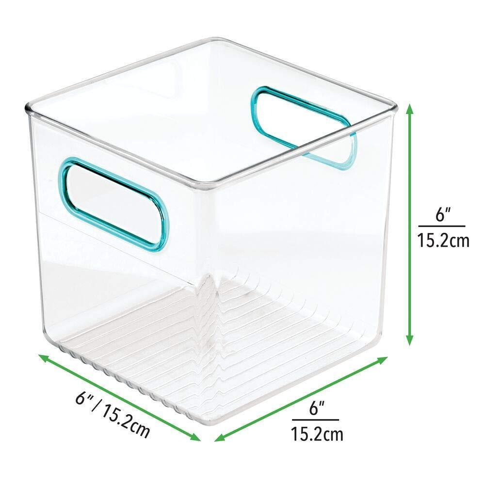 Budget friendly mdesign plastic home office storage organizer container with handles for cabinets drawers desks workspace bpa free for pens pencils highlighters notebooks 6 cube 4 pack clear blue