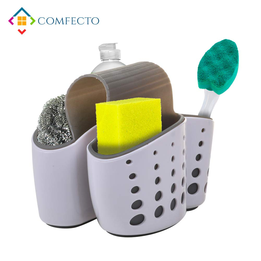 Hanging Kitchen Sink Sponge Holder Caddy Scrubber on Faucet with Dual Compartment Non-Slip Grip - Comes with Drain Holes for Sanitary Drying Adjustable Strap Premium TPR ABS