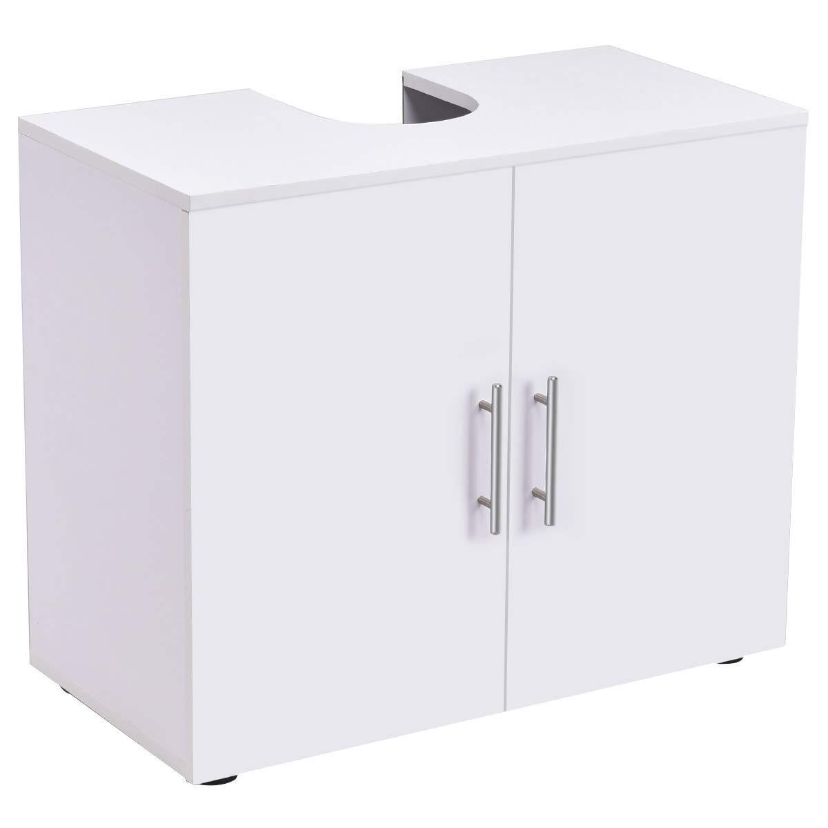 Featured bathroom non pedestal under sink vanity cabinet multipurpose freestanding space saver storage organizer double doors with shelves white