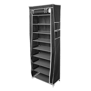 Home civilys 10 tier shoe tower rack with cover 27 pair space saving closet shoe storage boot organizer cabinet us stock black