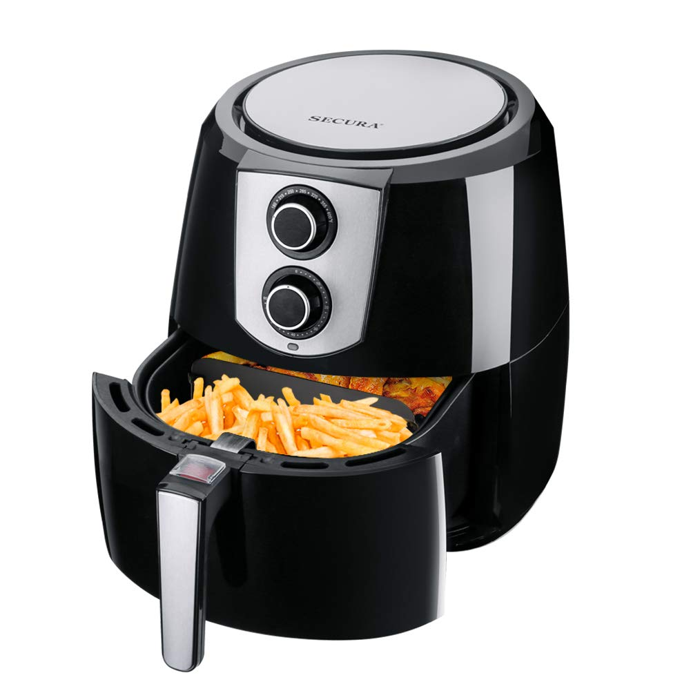 Secura Air Fryer 1800W Electric Hot Air Fryers Nonstick Cooker for Healthy Oil-free Low Fat Cooking with Automatic Timer and Temperature Control, Extra Large Capacity 5.2L/5.5QT, Bonus Food Divider