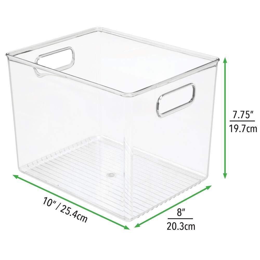 Save on mdesign plastic storage bin with handles for office desk book shelf filing cabinet organizer for sticky notes pens notepads pencils supplies bpa free 10 long 4 pack clear