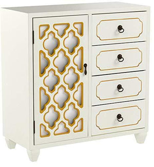 Related heather ann creations 4 drawer wooden accent chest and cabinet multi clover pattern grille with mirrored backing 30 75h x 29 5w beige gold