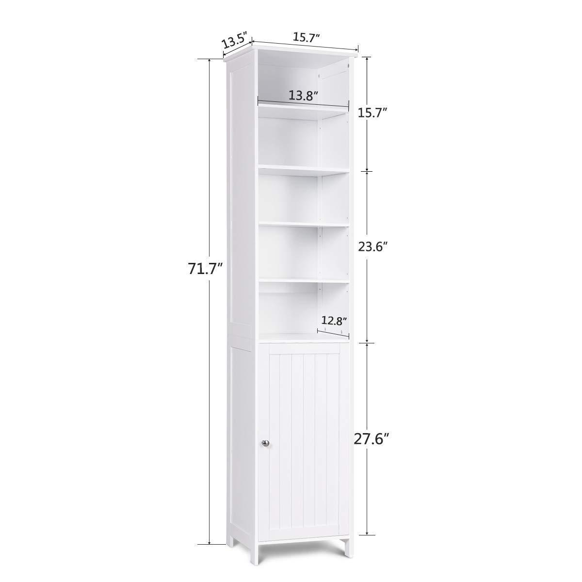 New 72 tall cabinet waterjoy standing tall storage cabinet wooden white bathroom cupboard with door and 5 adjustable shelves elegant and space saving