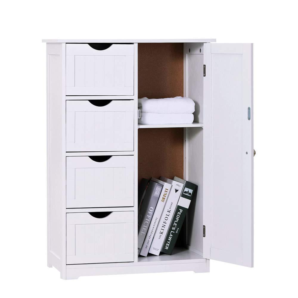 Storage organizer bathroom floor cabinet crazylynx free standing wooden storage cabinet organizer with 4 drawers and one cupboard 22 x 32 7 for home garden office off white