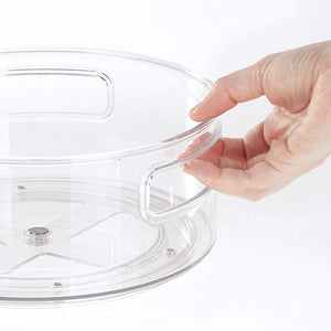 Try mdesign deep plastic lazy susan turntable food storage bin with handles rotating organizer for kitchen pantry cabinet cupboard refrigerator or freezer 9 round 4 pack clear