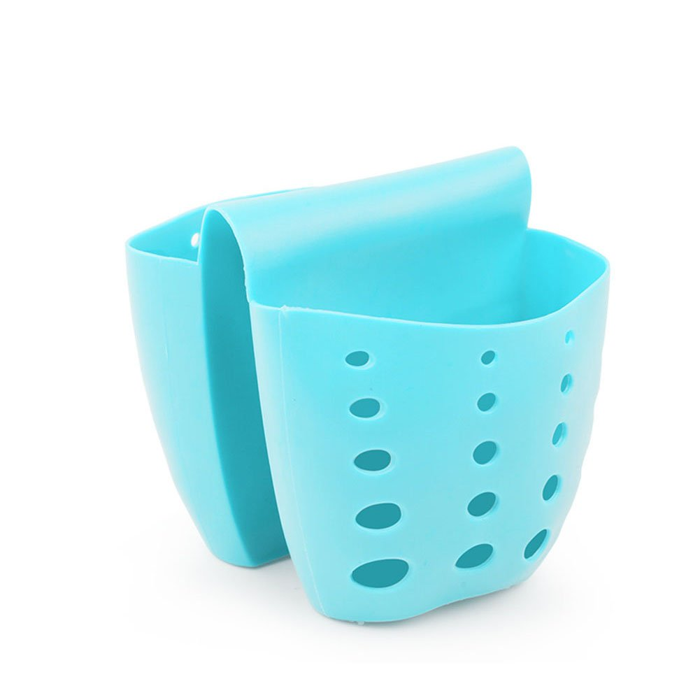 YANGYULU Silicone Sponge Holder Kitchen Bath Sink Double Side Hanging Storage Basket (Blue)