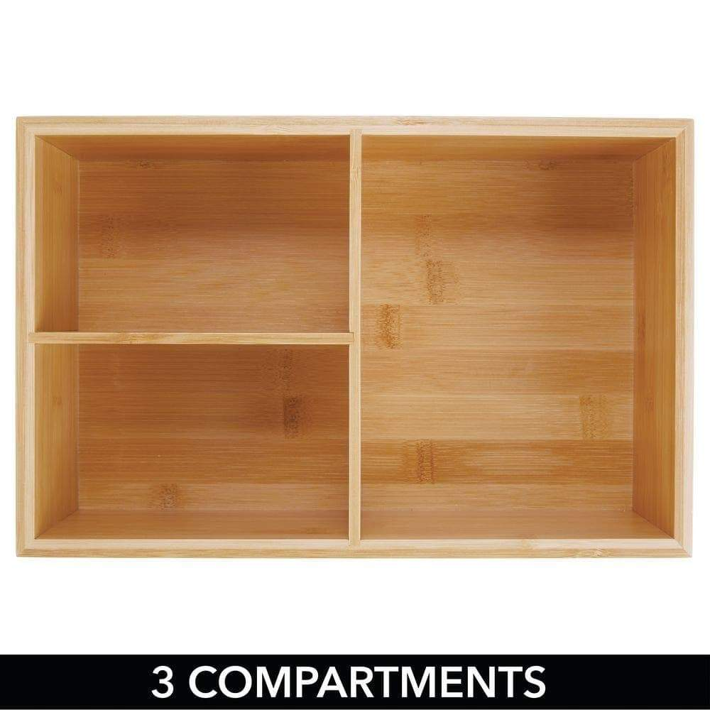 Get mdesign bamboo wood kitchen storage bin organizer for food container lids and covers use in cabinets pantries cupboards large divided organizer with 3 sections 2 pack natural
