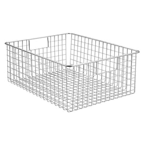 Discover the mdesign large farmhouse metal wire storage basket bin box with handles for organizing closets shelves and cabinets in bedrooms bathrooms entryways and hallways 16 x 12 x 6 4 pack chrome