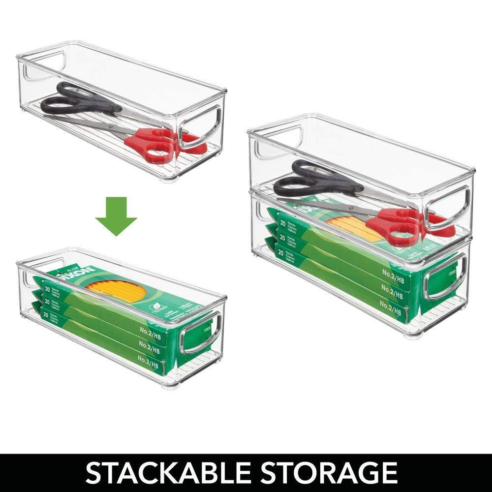 Organize with mdesign stackable plastic office storage organizer container with handles for cabinets drawers desks workspace bpa free for pens pencils highlighters tape 10 long 4 pack clear