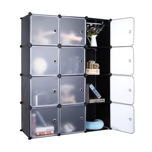 Featured robolife 12 cubes organizer diy closet organizer shelving storage cabinet transparent door wardrobe for clothes shoes toys