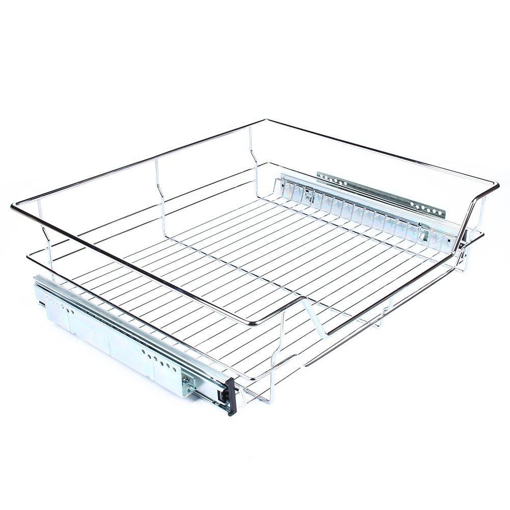 Home gototop kitchen sliding cabinet organizer pull out chrome wire storage basket drawer for kitchen cabinets cupboards 20 3 17 35 3