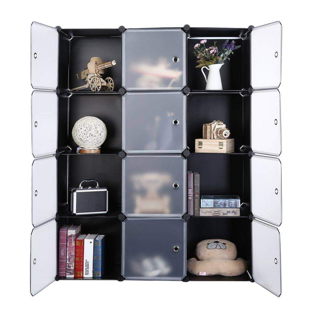 Latest robolife 12 cubes organizer diy closet organizer shelving storage cabinet transparent door wardrobe for clothes shoes toys