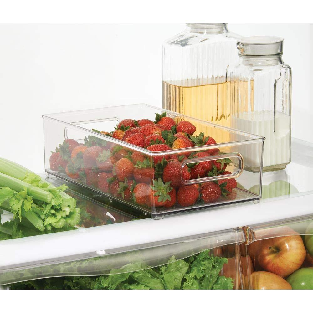 Heavy duty mdesign large stackable kitchen storage organizer bin with pull front handle for refrigerators freezers cabinets pantries bpa free food safe deep rectangle tray basket 6 pack clear