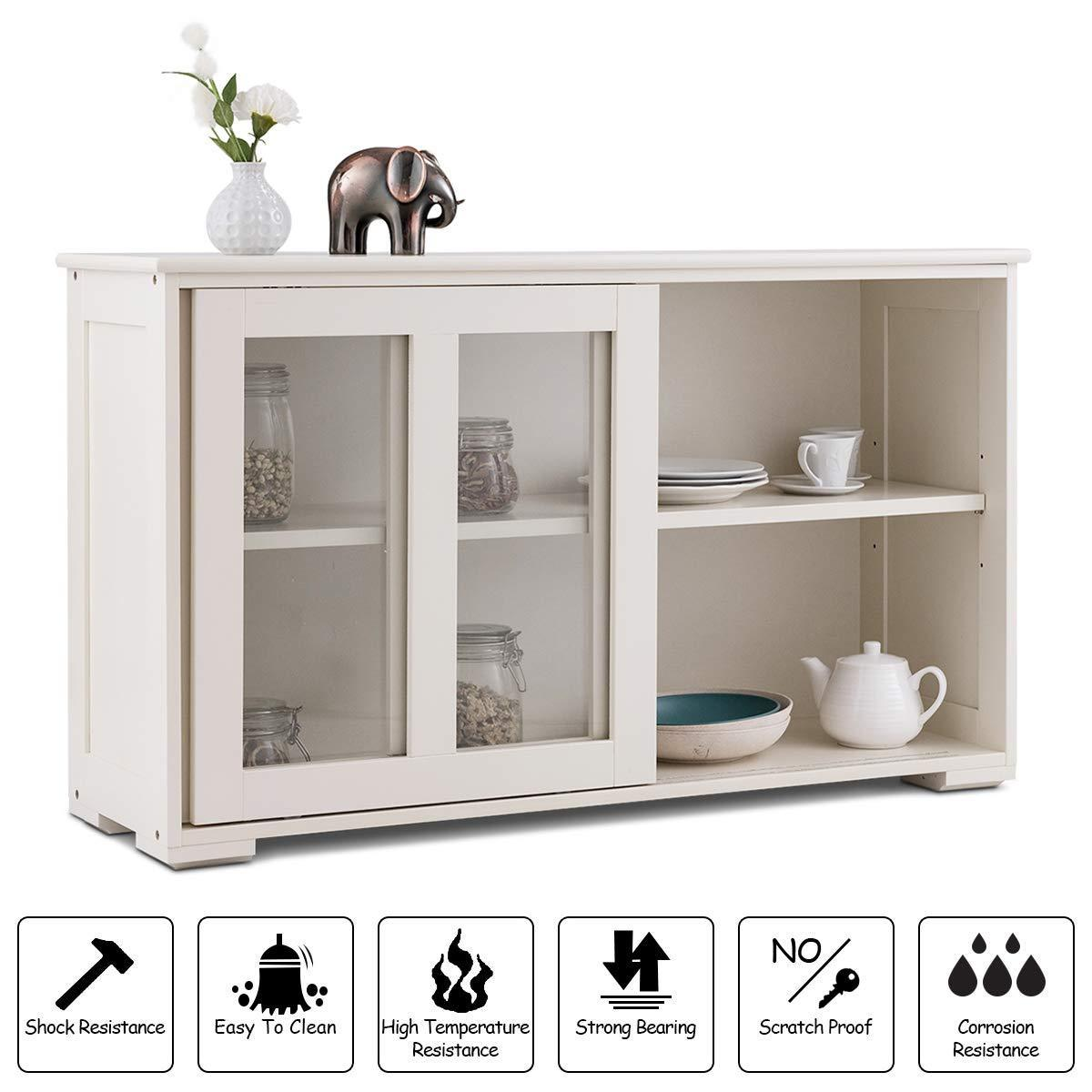 Save costzon kitchen storage sideboard antique stackable cabinet for home cupboard buffet dining room cream white with sliding door window
