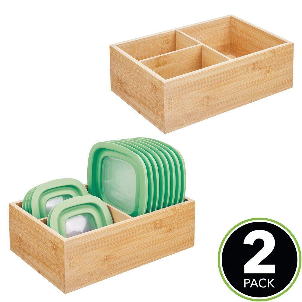 Heavy duty mdesign bamboo wood kitchen storage bin organizer for food container lids and covers use in cabinets pantries cupboards large divided organizer with 3 sections 2 pack natural