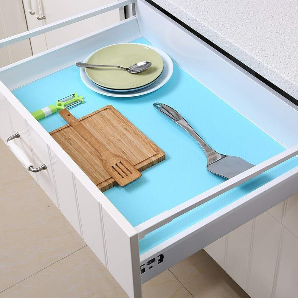 Amazon best bloss premium quality shelf liner drawer pad refrigerator pad healthy fridge mats non adhesive antibacterial antifouling cabinet for kitchen home cupboard desks blue 17 7 59