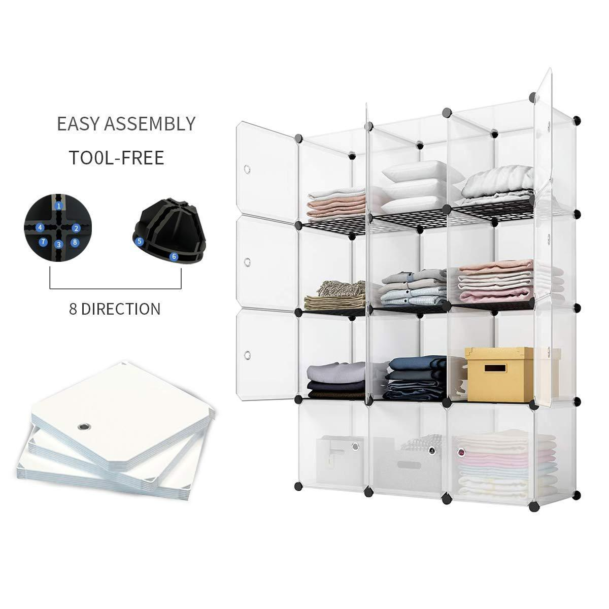 New kousi portable storage cube cube organizer cube storage shelves cube shelf room organizer clothes storage cubby shelving bookshelf toy organizer cabinet transparent white 12 cubes