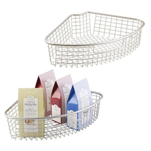 Shop for mdesign farmhouse metal kitchen cabinet lazy susan storage organizer basket with front handle large pie shaped 1 4 wedge 4 4 deep container 2 pack satin