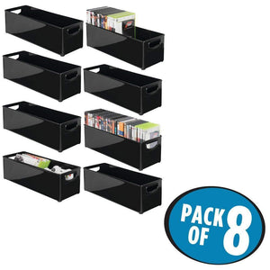 Budget friendly mdesign plastic stackable household storage organizer container bin with handles for media consoles closets cabinets holds dvds video games gaming accessories head sets 8 pack black