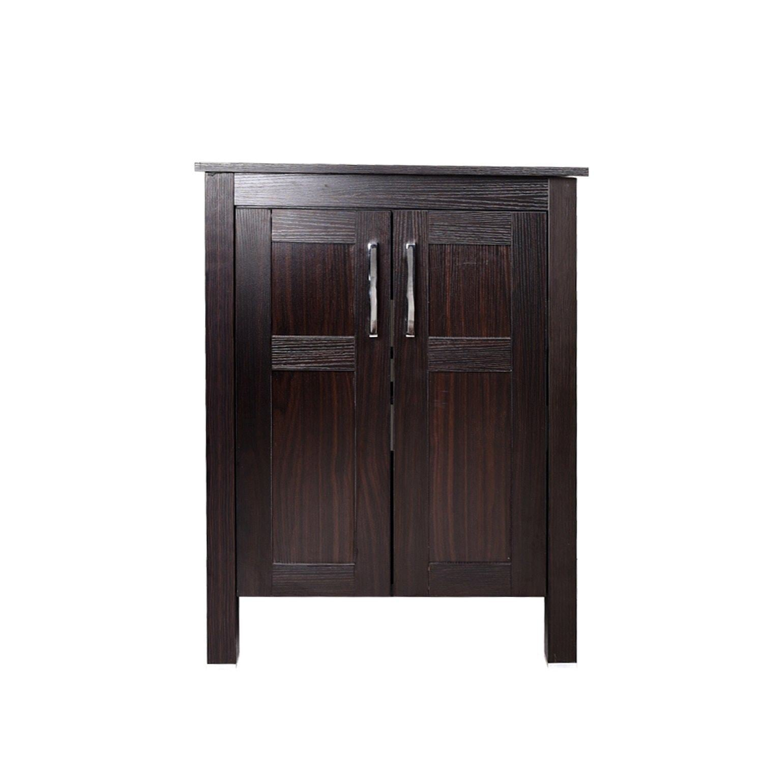 Order now 24 inches traditional bathroom vanity set in dark coffee finish single bathroom vanity with top and 2 door cabinet brown glass sink top with single faucet hole