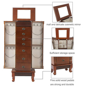 Save fdw jewelry cabinet jewelry chest jewelry armoire wood jewelry box storage stand organizer with side doors 7 drawers makeup mirror