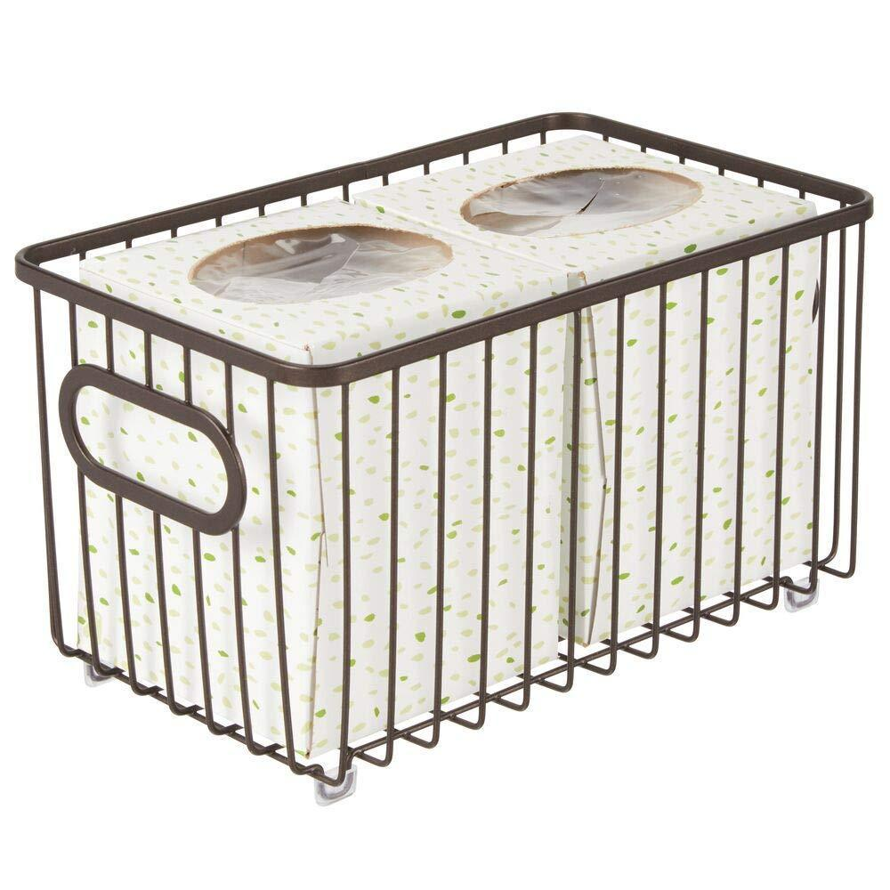 Discover the best mdesign metal bathroom storage organizer basket bin modern wire grid design for organization in cabinets shelves closets vanity countertops bedrooms under sinks 4 pack bronze
