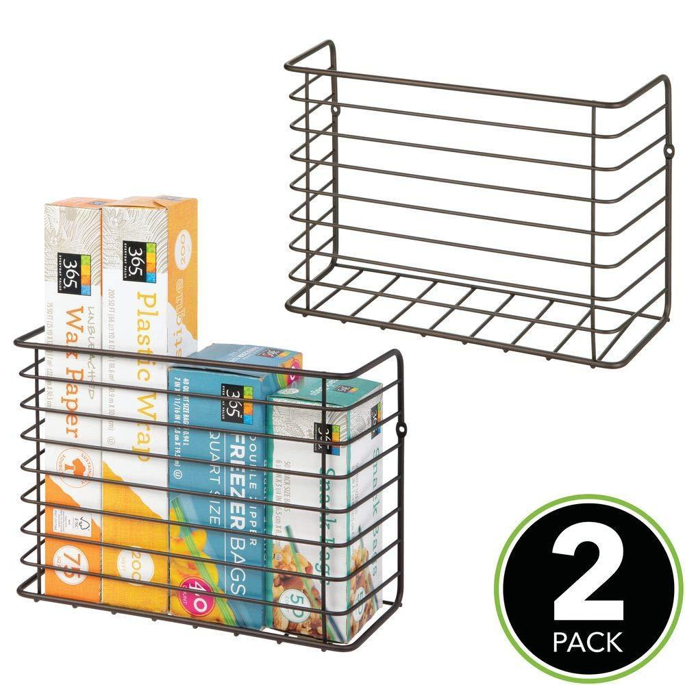 Selection mdesign farmhouse metal wire wall cabinet door mount kitchen storage organizer basket rack mount to walls and cabinet doors in kitchen pantry and under sink 2 pack bronze