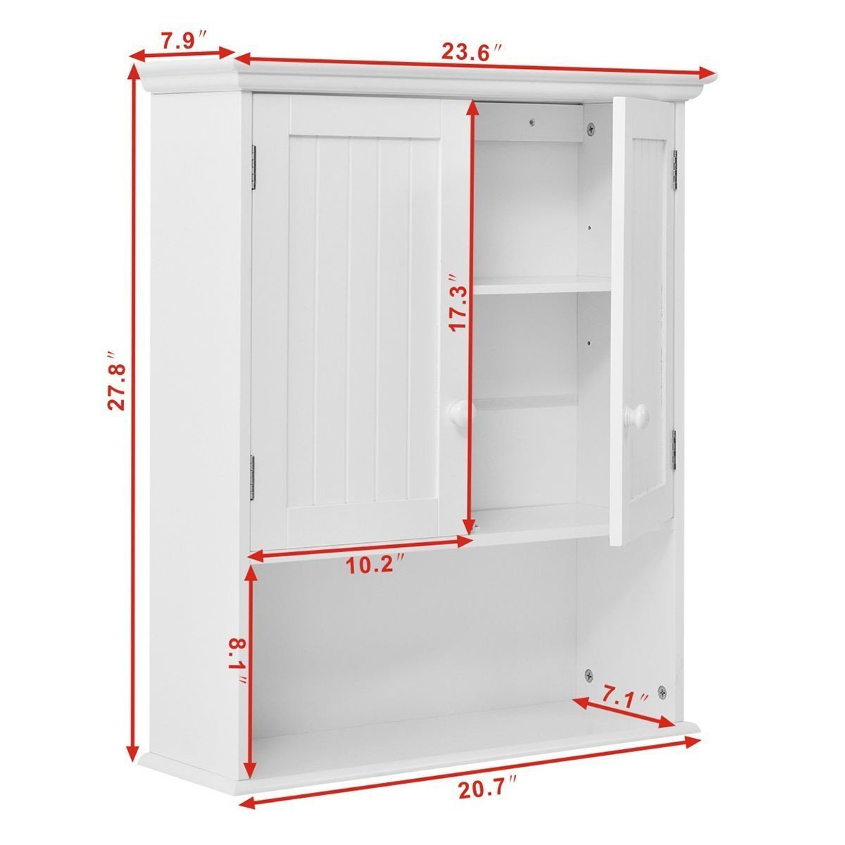 Home gentleshower bathroom wall cabinet wood medicine cabinet multipurpose home kitchen medicine storage organizer with 2 doors and 1 storage shelf white