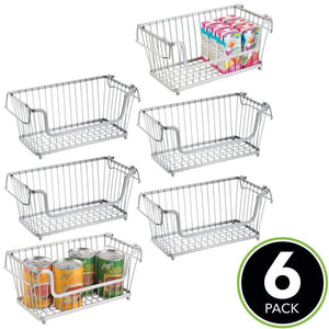 Top mdesign modern farmhouse metal wire household stackable storage organizer bin basket with handles for kitchen cabinets pantry closets bathrooms 12 5 wide 6 pack chrome