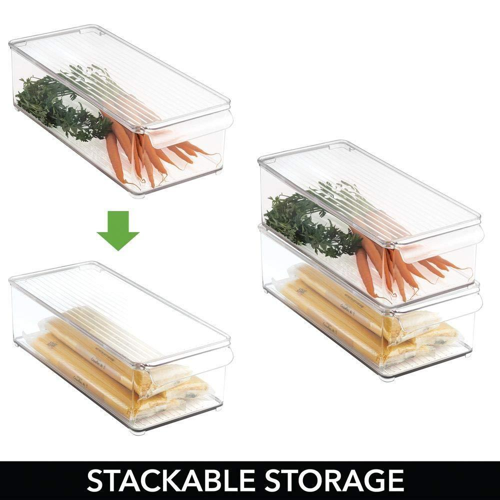 Discover mdesign plastic food storage container bin with lid and handle for kitchen pantry cabinet fridge freezer organizer for snacks produce vegetables pasta 8 pack clear