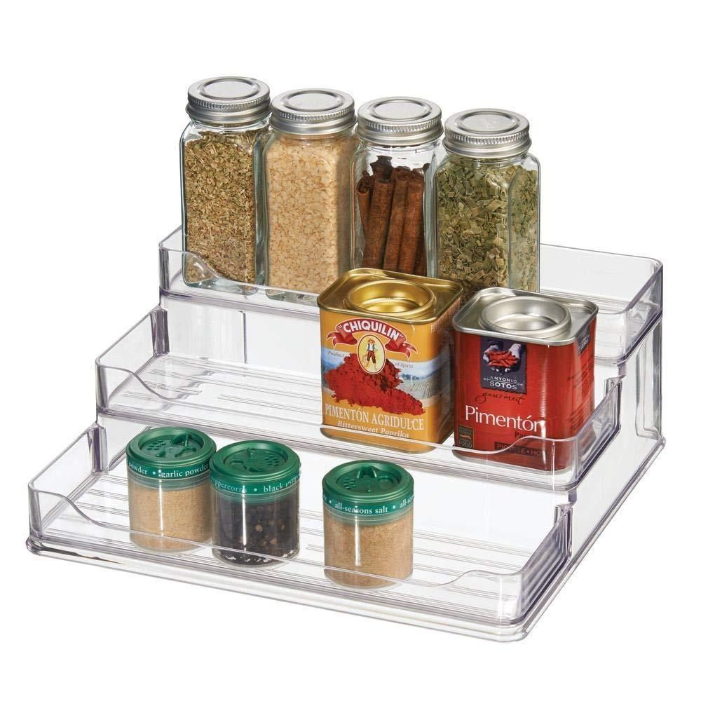 Select nice mdesign plastic spice and food kitchen cabinet pantry shelf organizer 3 tier storage modern compact caddy rack holds spices herb bottles jars for shelves cupboards refrigerator clear