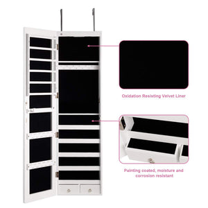 Online shopping giantex wall door jewelry armoire cabinet with mirror 2 led lights auto on large storage wide mirrored 1 scarf rod 36 hooks 1 makeup pouch organizer for bedroom jewelry amoires w 2 drawers white
