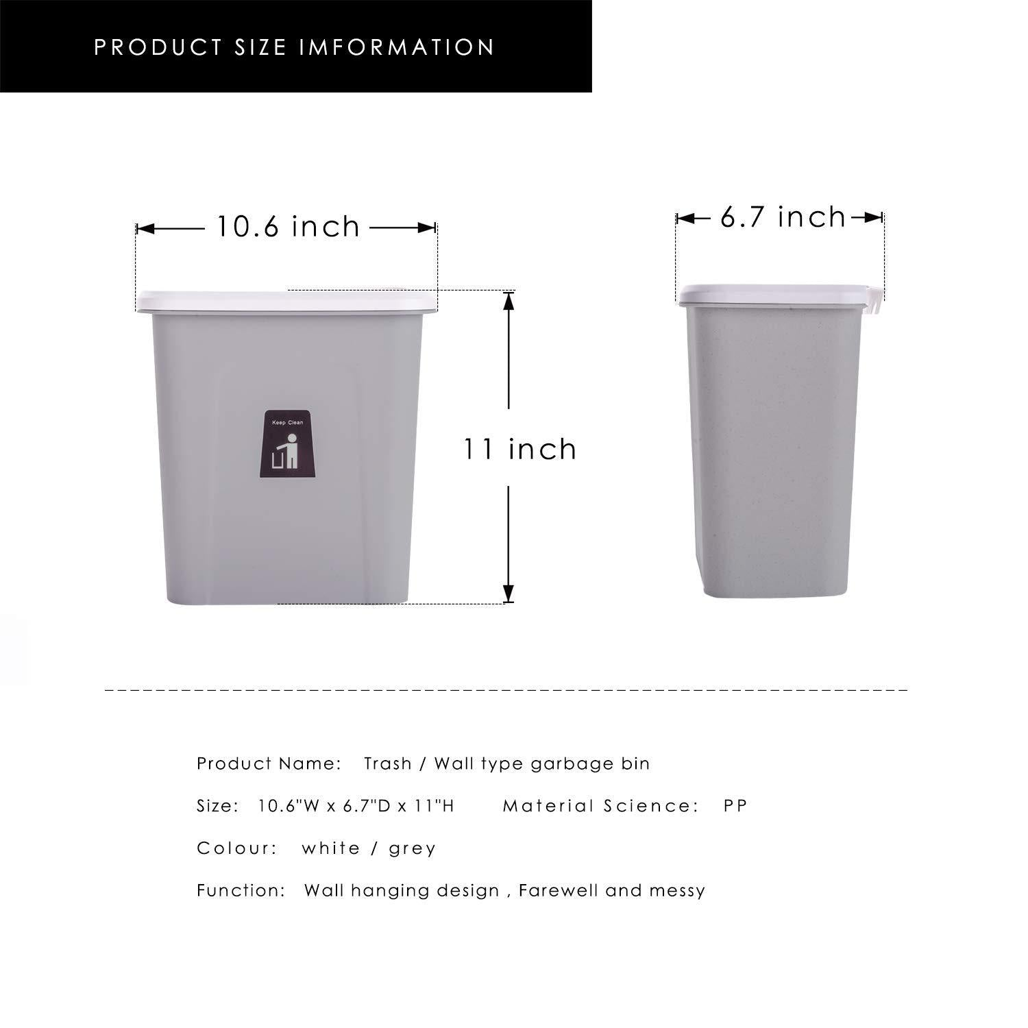 Save karyhome hanging trash can small cabinet kitchen trash can garbage can for kitchen cupboard with automatic return lid grey