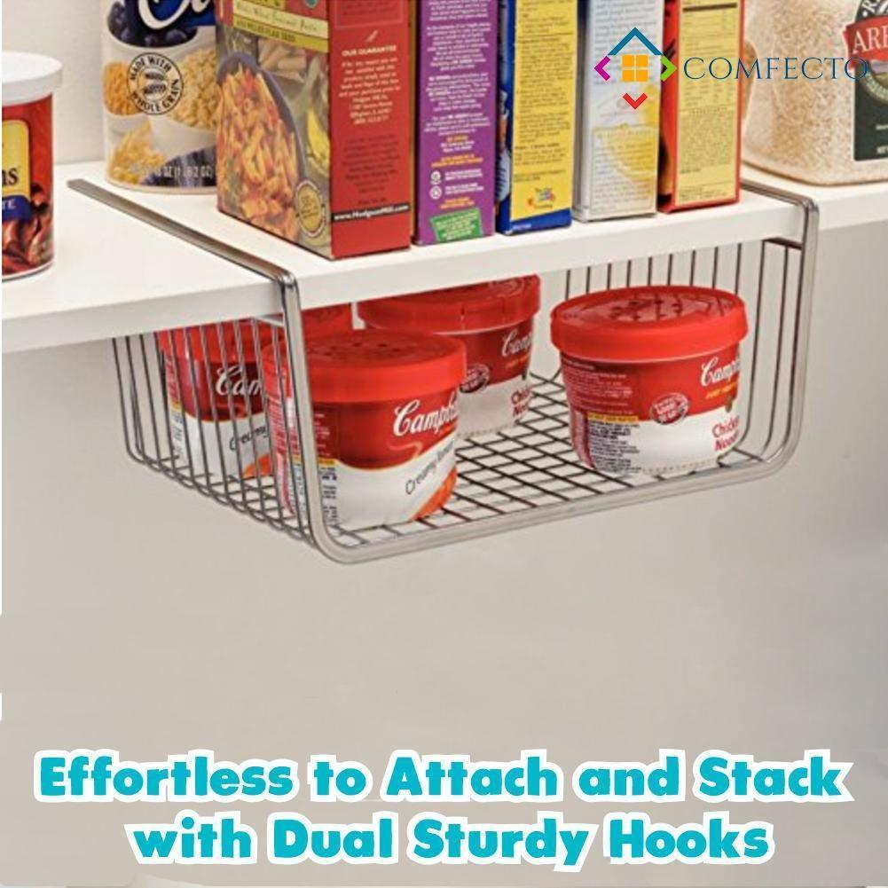 Exclusive 2pcs 15 8 inchunder cabinet storage shelf wire basket organizer for cabinet thickness max 1 2 inch extra storage space on kitchen counter pantry desk bookshelf cupboard anti rust stainless steel rack