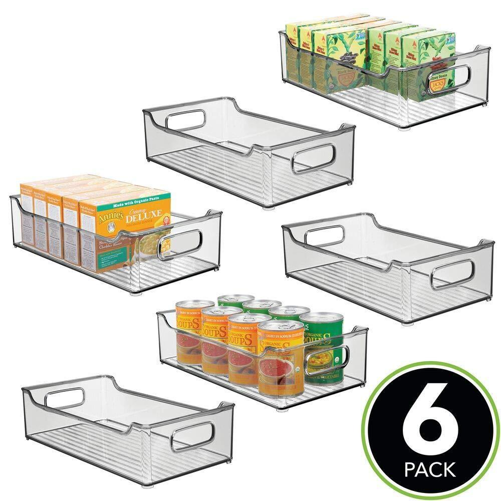 On amazon mdesign wide stackable plastic kitchen pantry cabinet refrigerator or freezer food storage bin box basket with handles organizer for fruit yogurt snacks pasta 14 5 long 6 pack smoke gray