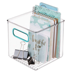 Budget mdesign plastic home office storage organizer container with handles for cabinets drawers desks workspace bpa free for pens pencils highlighters notebooks 6 cube 4 pack clear blue