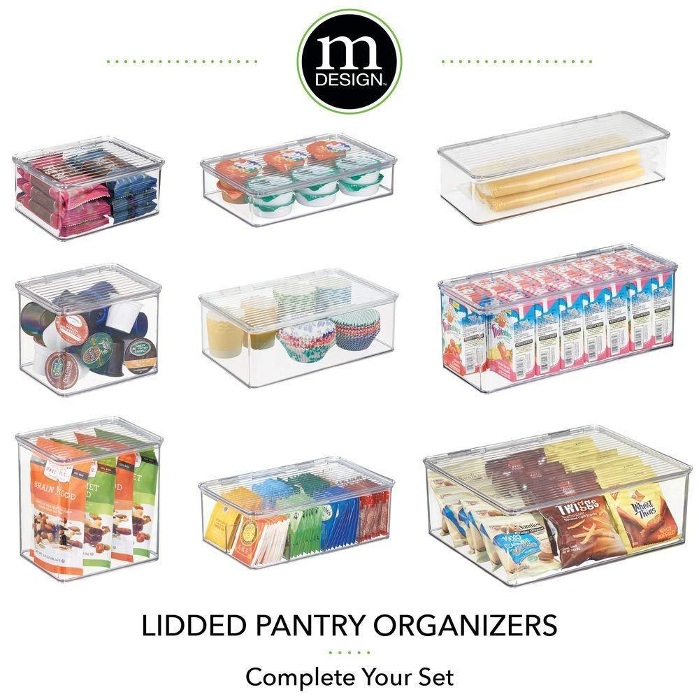 Discover mdesign stackable kitchen pantry cabinet or refrigerator storage bin with attached hinged lid compact storage organizer for coffee tea and food packets snacks bpa free pack of 2 clear