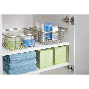 Related mdesign modern bathroom metal wire metal storage organizer bins baskets for vanity towels cabinets shelves closets pantry kitchens home office 9 75 square 4 pack satin