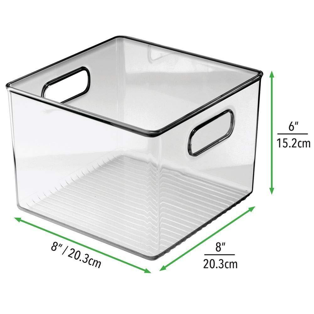 Organize with mdesign plastic food storage container bin with handles for kitchen pantry cabinet fridge freezer cube organizer for snacks produce vegetables pasta bpa free 8 pack clear