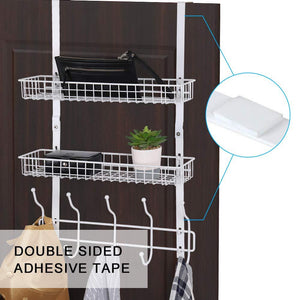 NEX Upgrade Over The Door Hook Shelf Organizer 5 Hooks with 2 Baskets Storage Rack for Coats & Towels, Chrome (White)