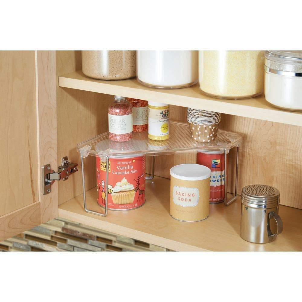 Great mdesign corner plastic metal freestanding stackable organizer shelf for kitchen countertop pantry or cabinet for storing plates mugs bowls canned goods baking supplies 4 pack clear chrome