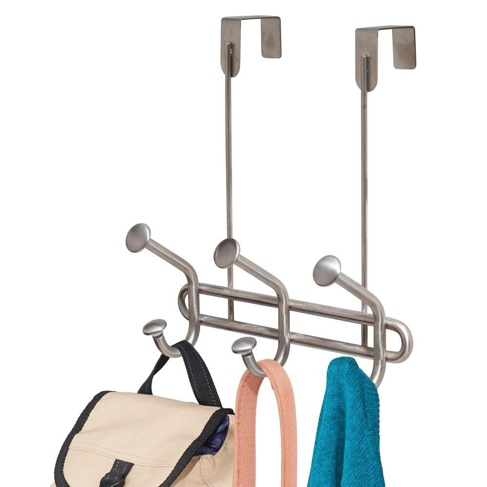 InterDesign Forma Ultra Over Door Storage Rack - Organizer Hooks for Coats, Hats, Robes, Clothes or Towels – 3 Dual Hooks, Brushed Stainless Steel
