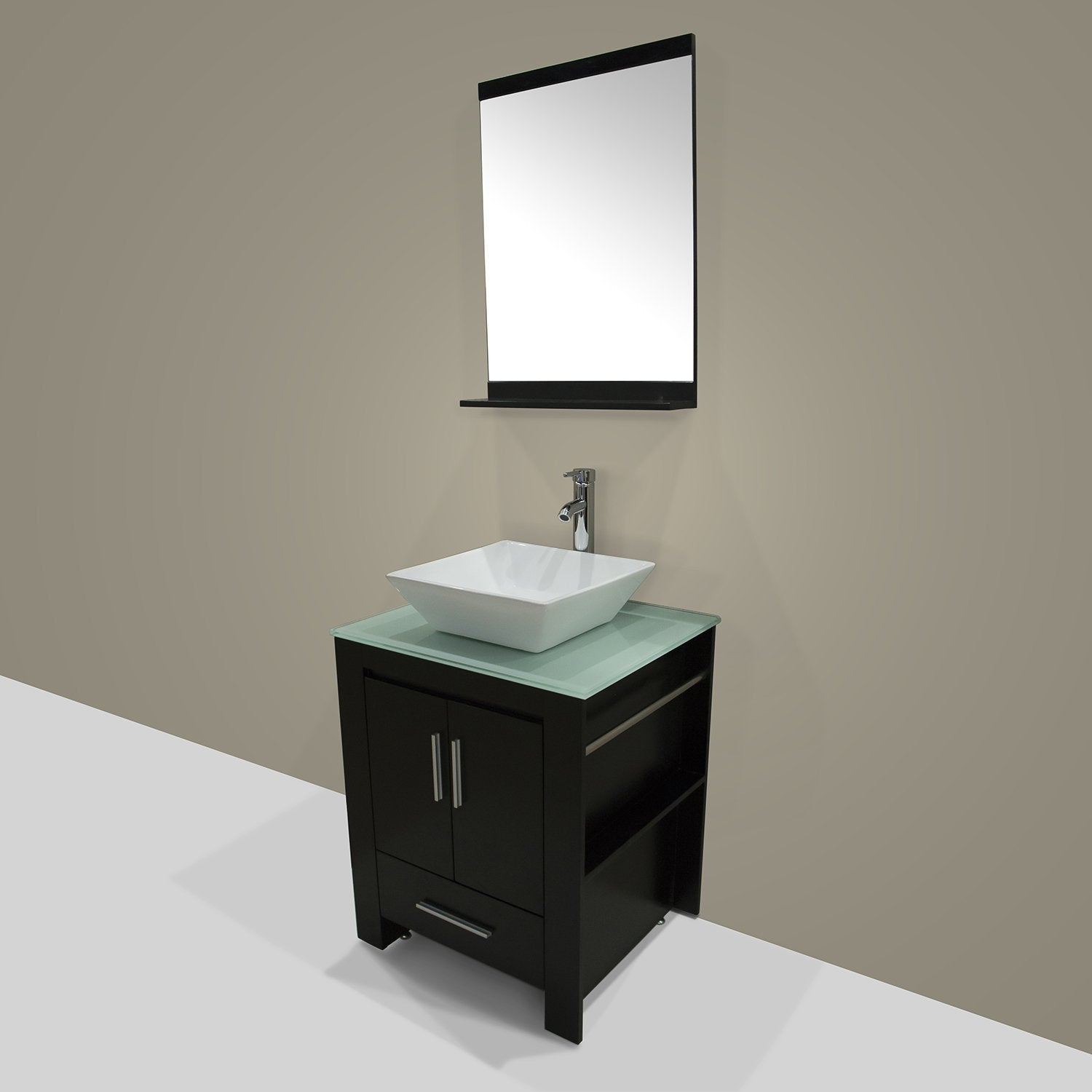 Amazon best walcut 24 inch bathroom vanity and sink combo modern black mdf cabinet ceramic vessel sink with faucet and pop up drain mirror tempered glass counter top
