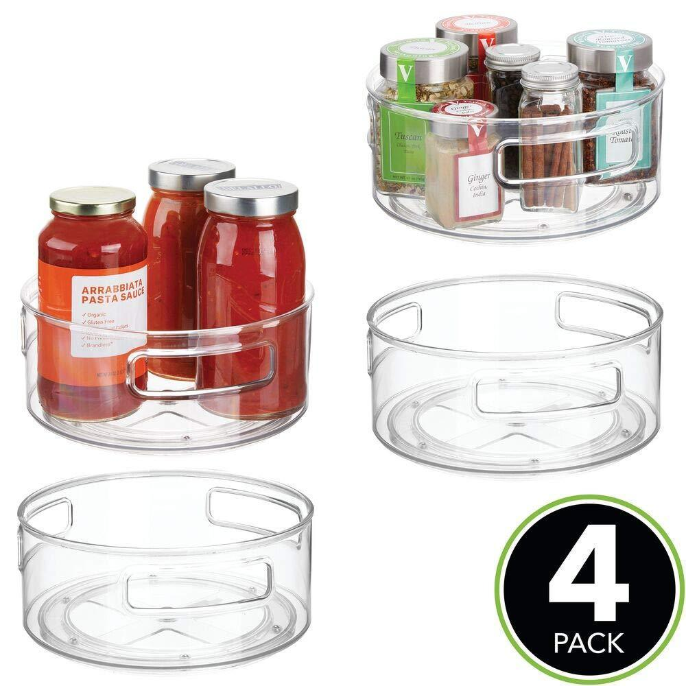 Amazon best mdesign deep plastic lazy susan turntable food storage bin with handles rotating organizer for kitchen pantry cabinet cupboard refrigerator or freezer 9 round 4 pack clear