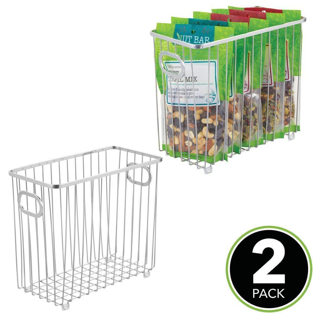Great mdesign metal farmhouse kitchen pantry food storage organizer basket bin wire grid design for cabinets cupboards shelves countertops holds potatoes onions fruit medium 2 pack chrome